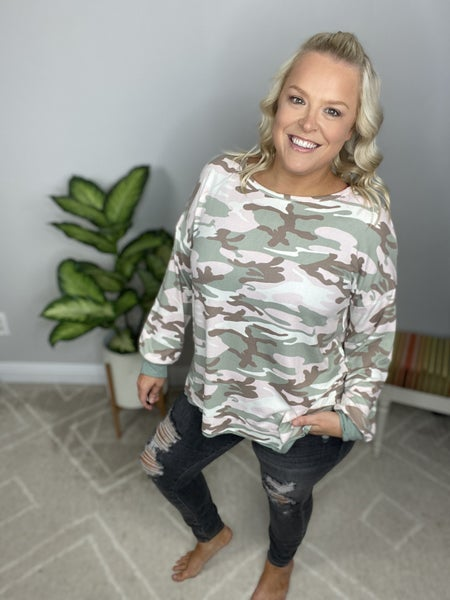 The Pink and Olive Camo Top