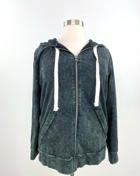 Our Favorite Zip Up Mineral Wash Hoodie in Forest Green