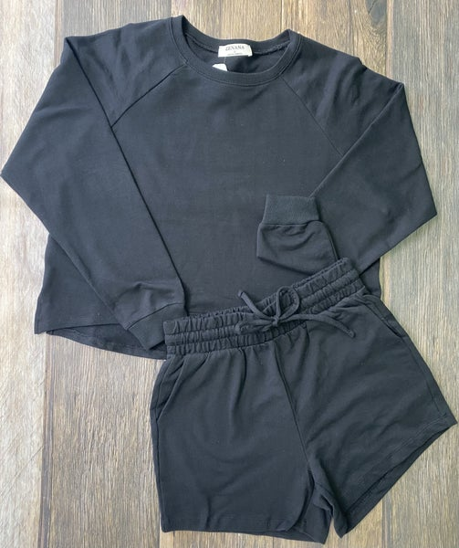 The Malibu French Terry Short Set in Black