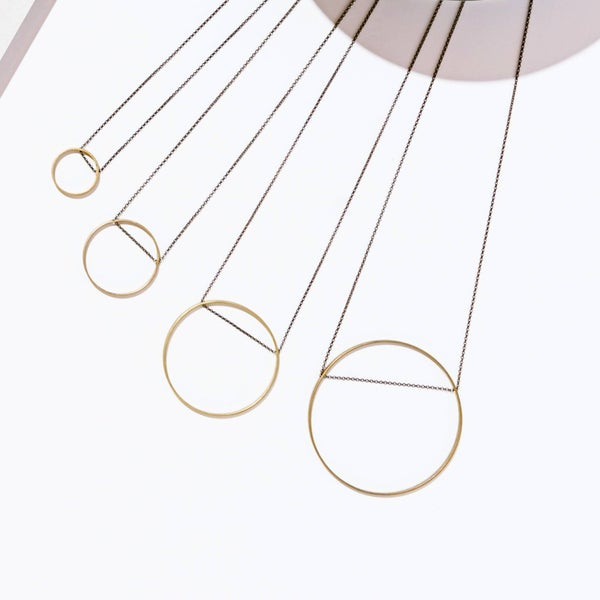 The Brass Circle Layering Necklace Collection