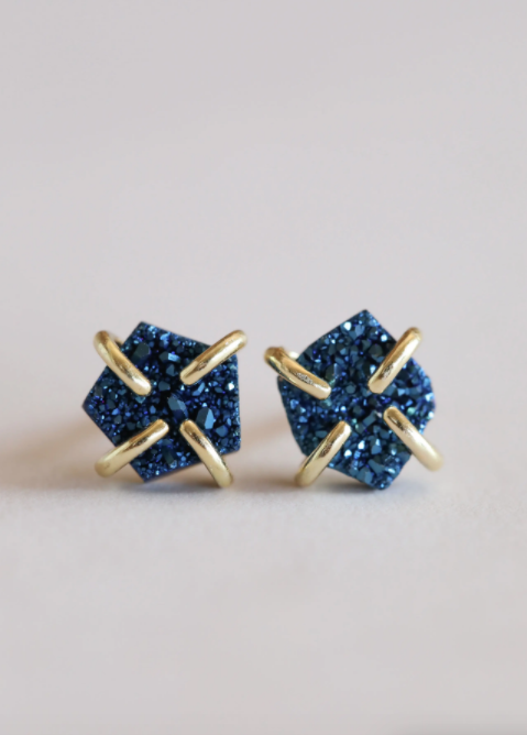 Peacock Druzy Prong Earrings