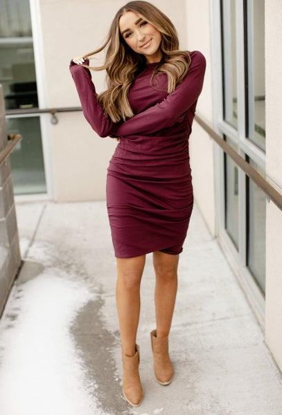 Long Sleeve Wine Better Than Basic Dress
