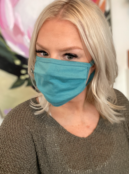 Dusty Teal Cotton Face Mask