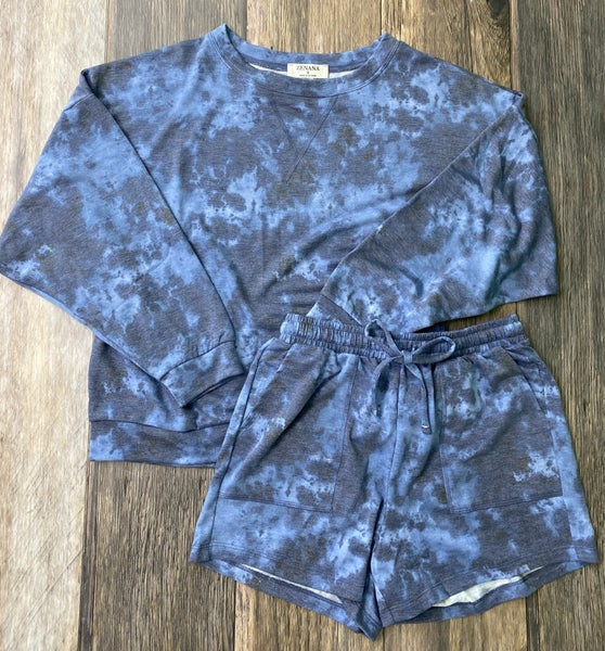 The Malibu French Terry Short Set in Blue Tie Dye