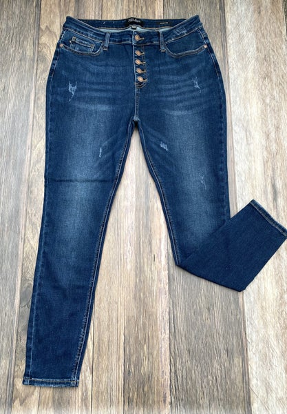 Brittney Button Front High Rise Jeans