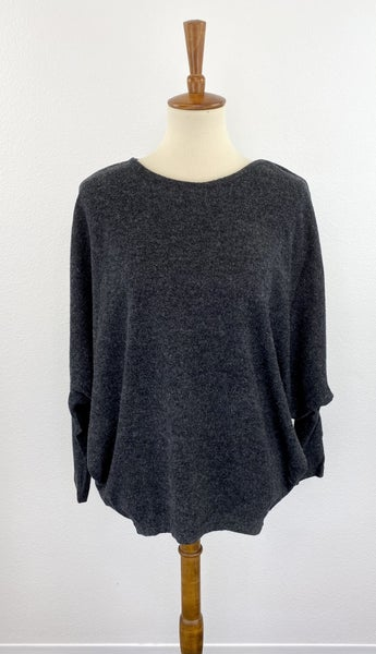 Brushed Charcoal Dolman Sleeve Top
