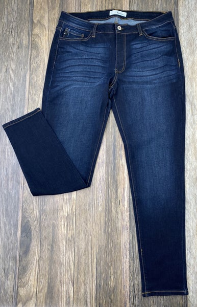Nothing But Simple Dark Wash Whiskered Skinny Jeans