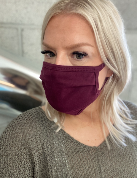 Burgundy Cotton Face Mask