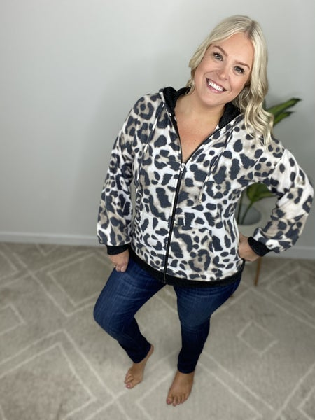 Bold Babe Leopard Zip Up Hoodie