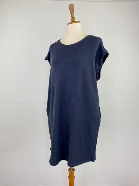 Black Short Sleeve Sweatshirt Dress