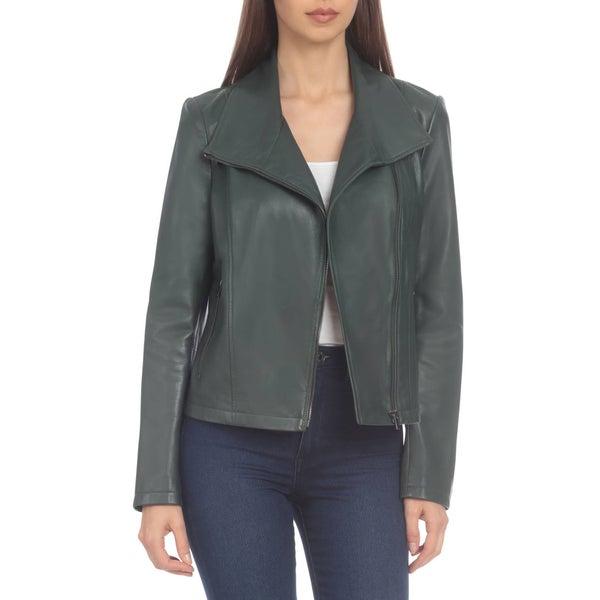 Badgley Mischka Hunter Lamb Leather Envelope Jacket