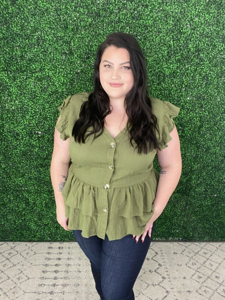 The Oaklee Olive Ruffle Top