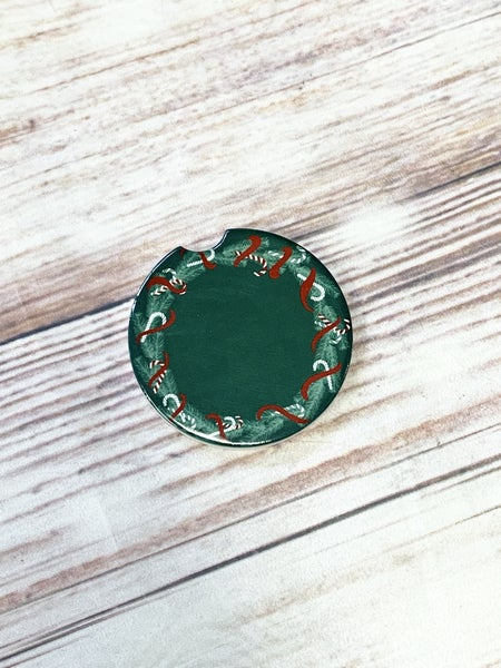 Green Candy Cane Garland Car Coaster