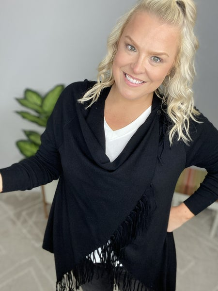 The Catherine Convertible Cardigan in Black