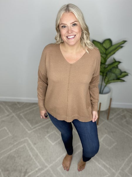 The Perfect V-Neck Sweater in Camel