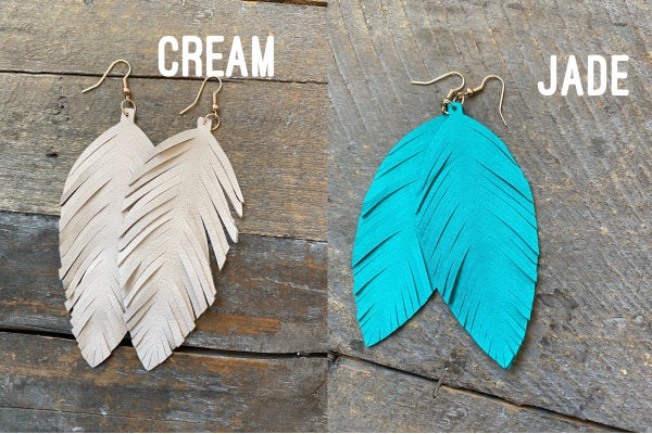 Real Leather Dangly Feather Earrings