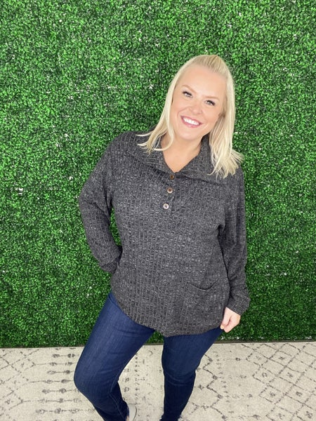 The Rhonda Ribbed Pullover Sweater in Charcoal