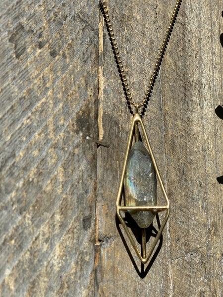 Gold Plated Labradorite Lumia Necklace