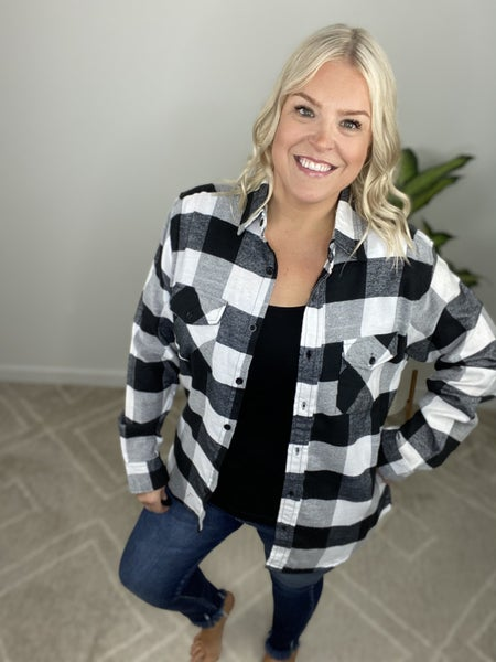 Black + White Lumber Jack Flannel Shirt