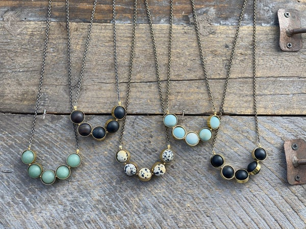 The Alignment Necklace Collection in Brass