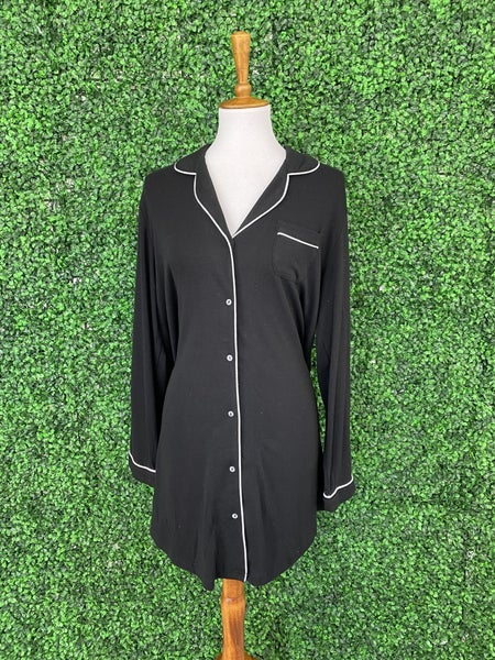 The Lacey Long Sleeve Pajama Shirt Dress in Black