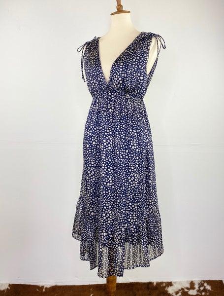Blue Polka Dot Ruffled Hem Dress