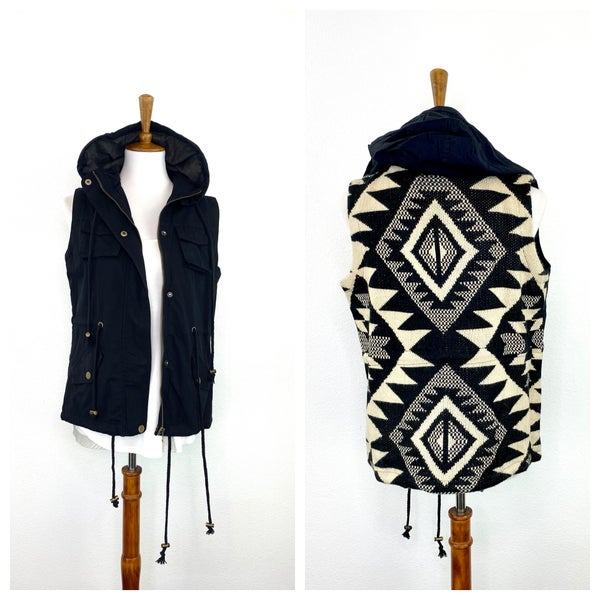 Black + Cream Aztec Military Vest
