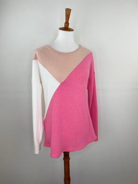 Peach + Pink Color Block Sweater