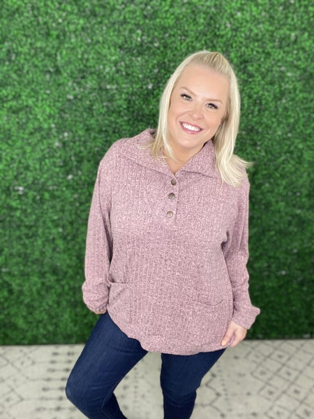 The Rhonda Ribbed Pullover Sweater in Mauve