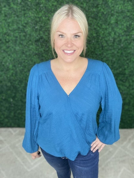 Plus Size Whitney Wrap Top in Teal
