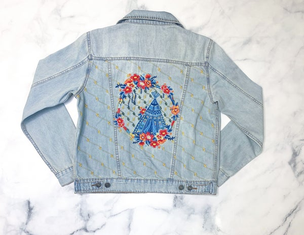 Flowers in the Field Jean Jacket