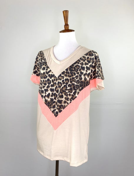 Spring Leopard and Coral Color Block Tee