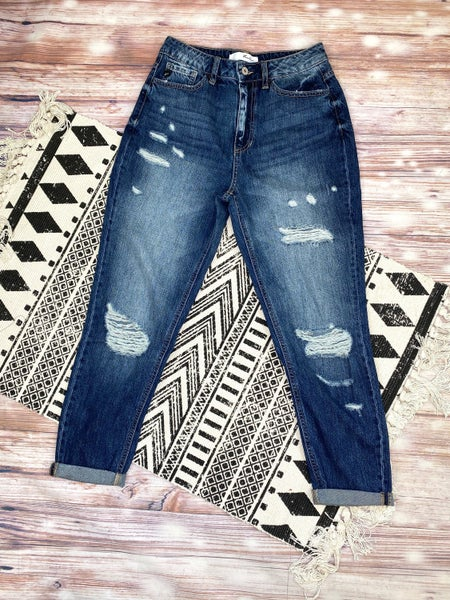 The Perfectly Imperfect Girlfriend High Rise Dark Wash Jeans