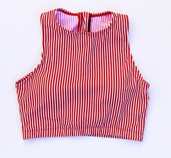 The Hello Bombshell Swim Top in Red + White Stripes