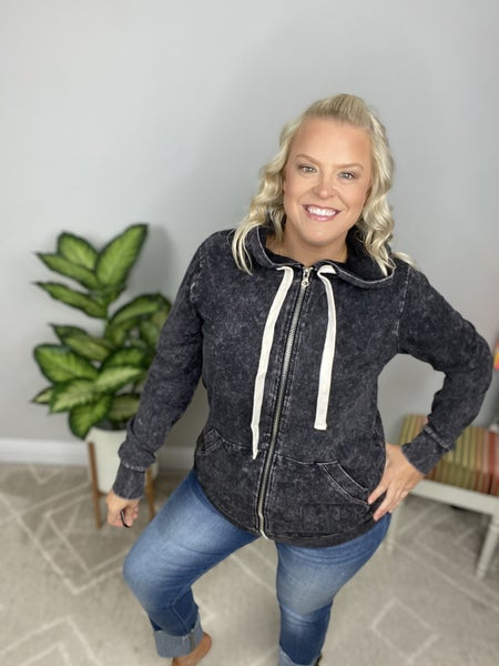 Our Favorite Zip Up Mineral Wash Hoodie in Charcoal
