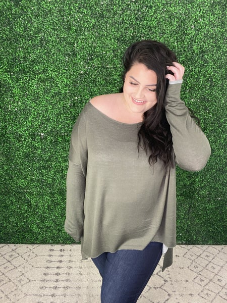 The Essential Off The Shoulder Top in Olive