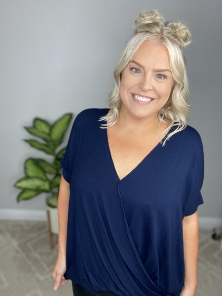 The Perfect Fall Wrap Top in Navy