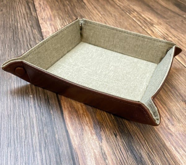 Brown Leather Foldable Valet Tray