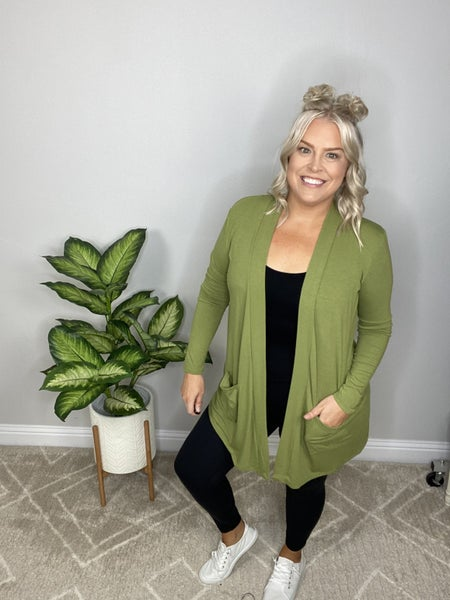 The New Perfect Year-Round Cardigan in Dusty Green