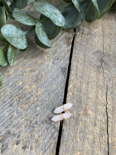 Rose Quartz Mineral Point Earring
