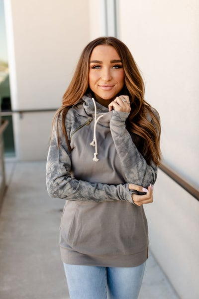 Charcoal Tie Dye Double Hooded Sweatshirt