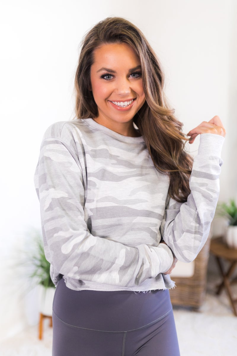 Try To Keep Up Cropped Sweatshirt