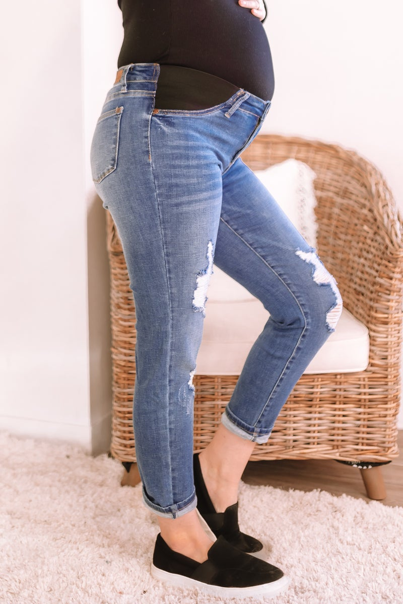 Destroyed Maternity Jeans