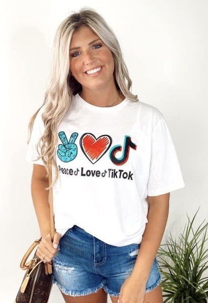 Peace Love Tik Tok Graphic Tee