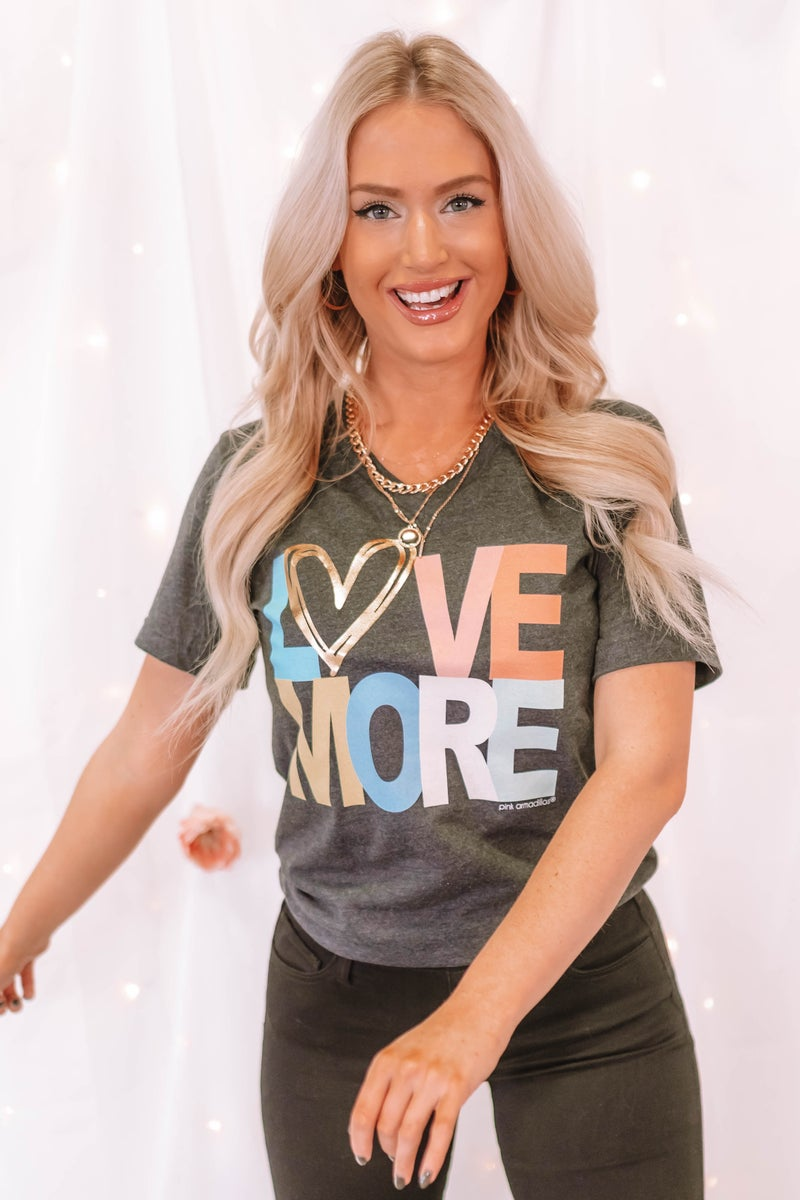 Love More V Neck Graphic Tee