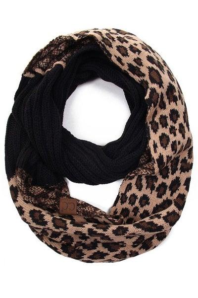 CC Leopard Knit Infinity Scarf