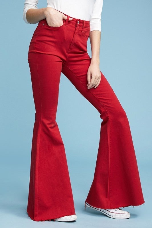 Judy Blue Game Day Flare Jeans - Crimson