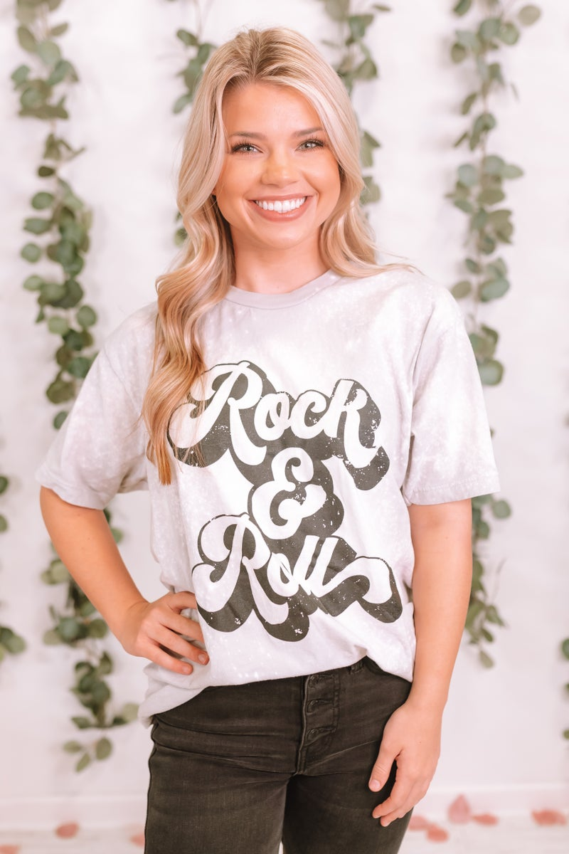 Rock And Roll Bleached Graphic Tee