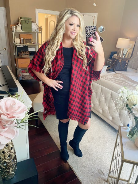 Winter Night Out Plaid Sweater Red