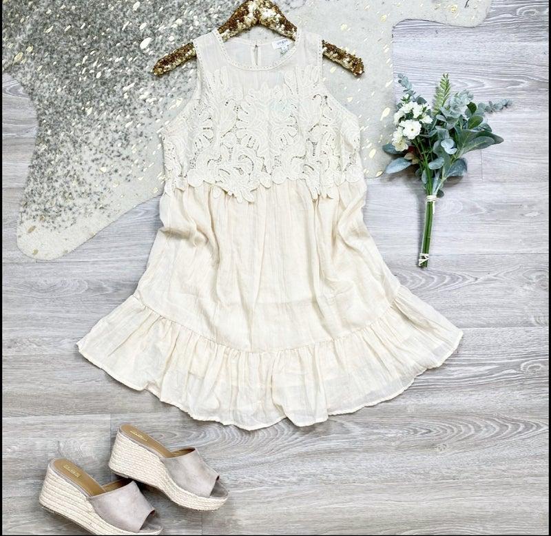 Ivory Crochet Babydoll Vacation Dress
